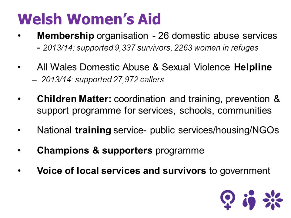 Welsh Women's Aid Membership organisation - 26 domestic abuse services - 2013/14: supported 9,337 survivors, 2263 women in refuges All Wales Domestic Abuse & Sexual Violence Helpline –2013/14: supported 27,972 callers Children Matter: coordination and training, prevention & support programme for services, schools, communities National training service- public services/housing/NGOs Champions & supporters programme Voice of local services and survivors to government