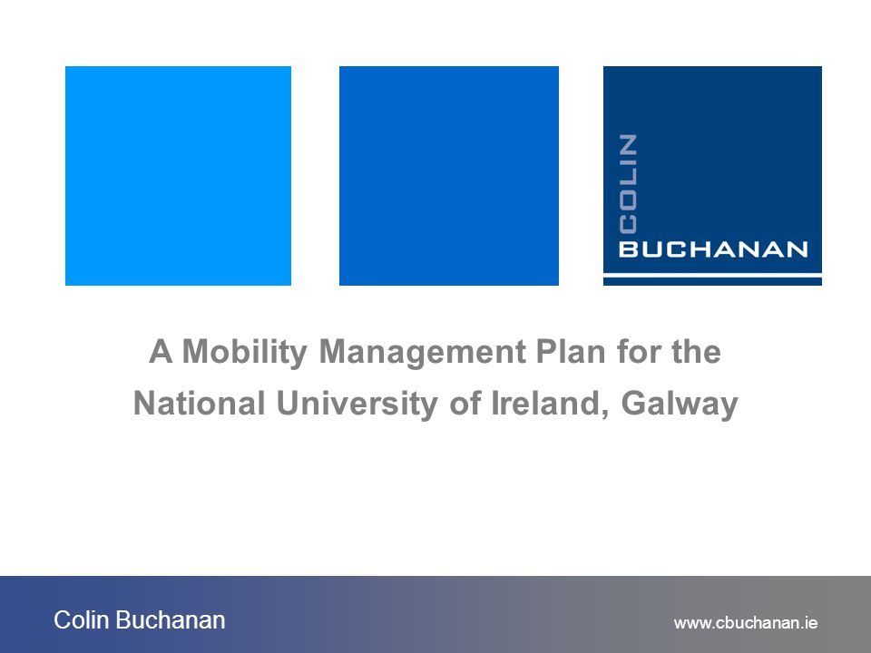 www.cbuchanan.ie Colin Buchanan A Mobility Management Plan for the National University of Ireland, Galway