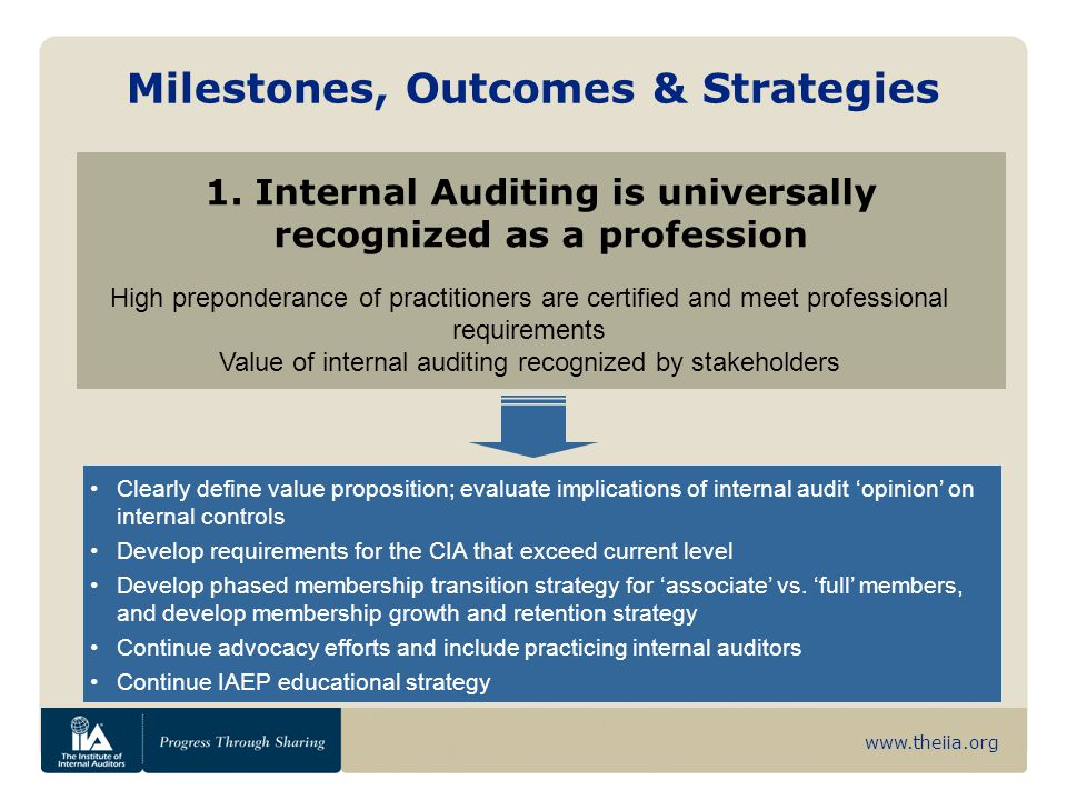 www.theiia.org Milestones, Outcomes & Strategies 1. Internal Auditing is universally recognized as a profession High preponderance of practitioners ar