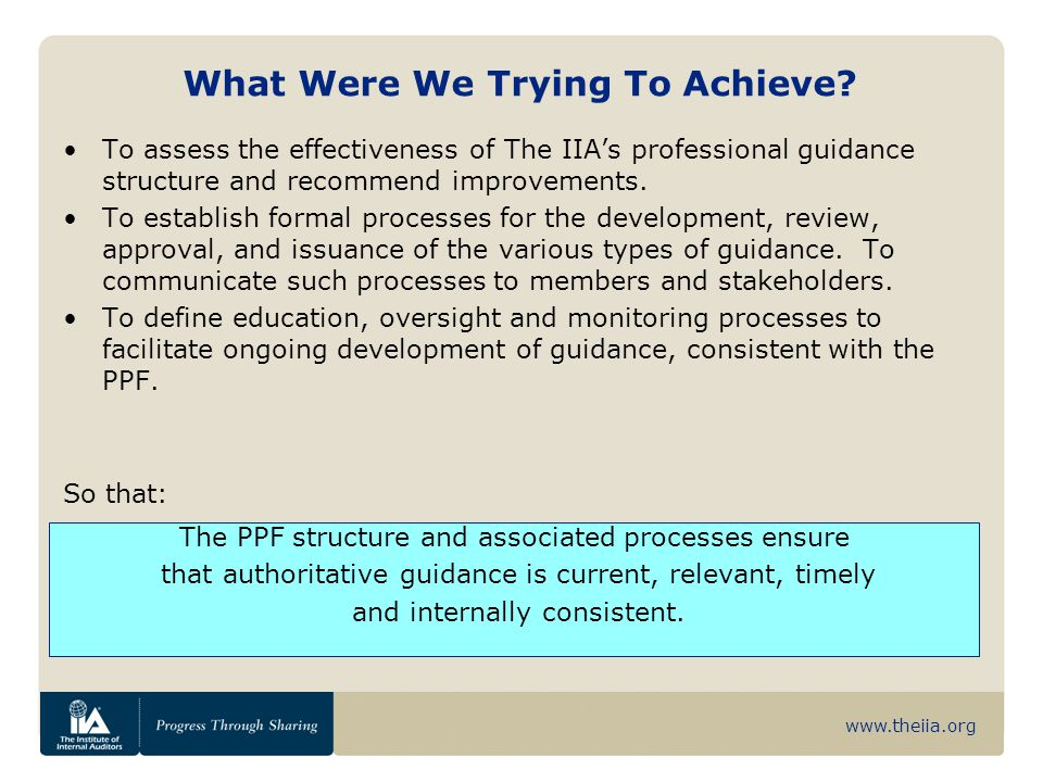 www.theiia.org What Were We Trying To Achieve? The PPF structure and associated processes ensure that authoritative guidance is current, relevant, tim