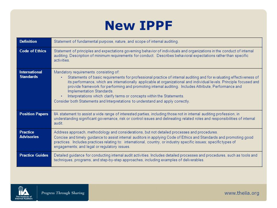 www.theiia.org New IPPF DefinitionStatement of fundamental purpose, nature, and scope of internal auditing.