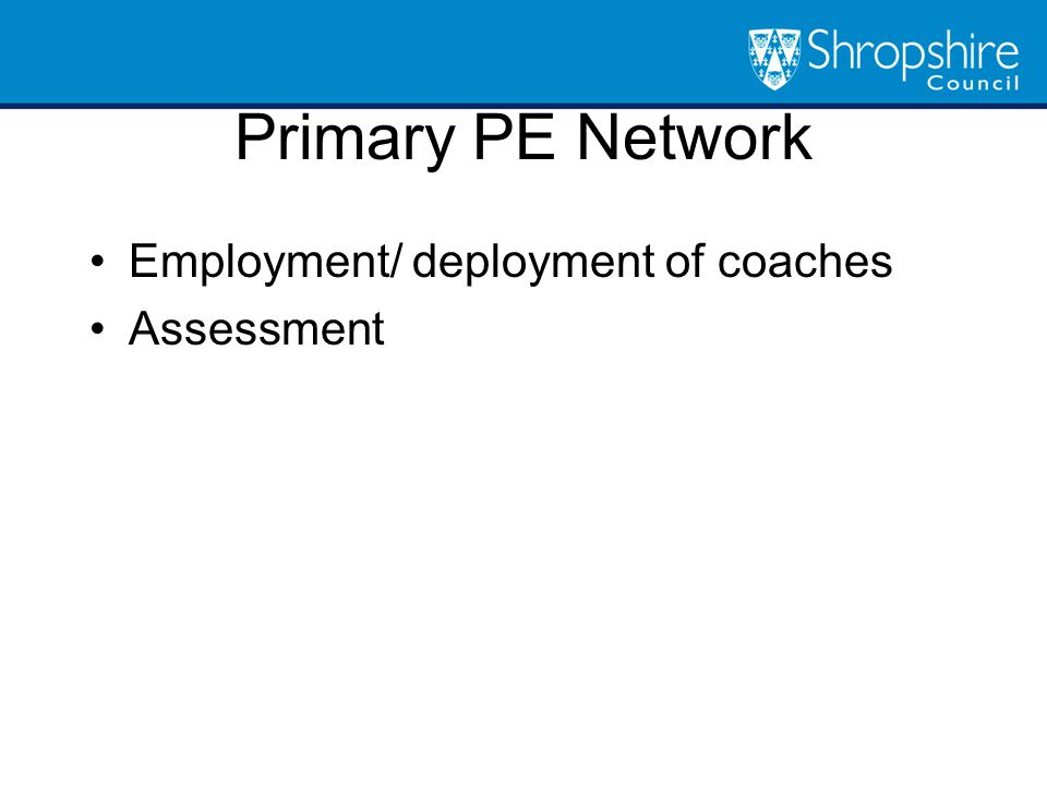 Primary PE Network Employment/ deployment of coaches Assessment