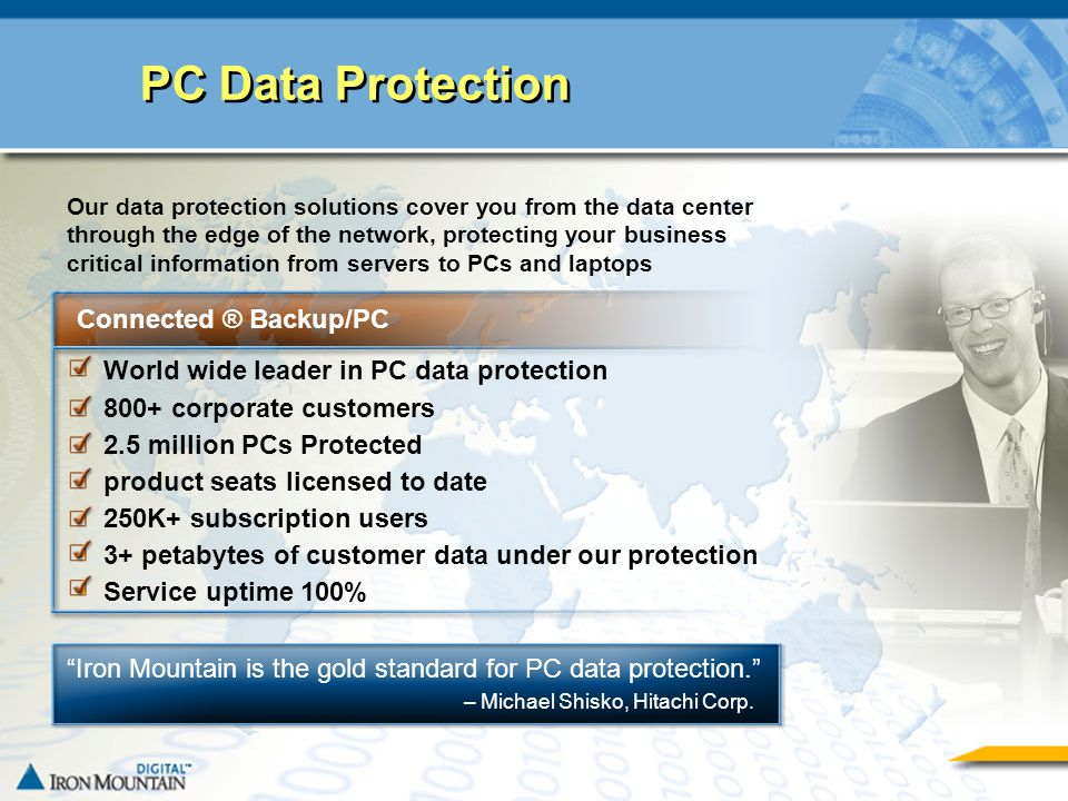 CONFIDENTIAL AND PROPRIETARY INFORMATION OF IRON MOUNTAIN3 PC Data Protection Connected ® Backup/PC World wide leader in PC data protection 800+ corpo