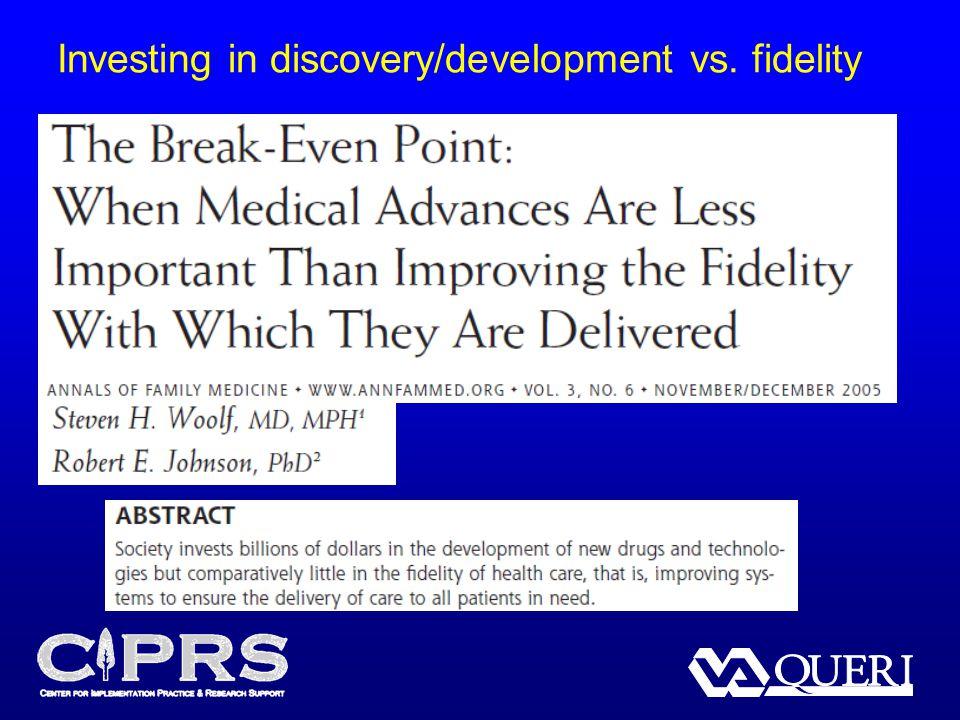 Investing in discovery/development vs. fidelity