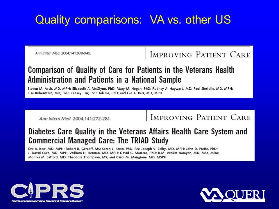 Quality comparisons: VA vs. other US