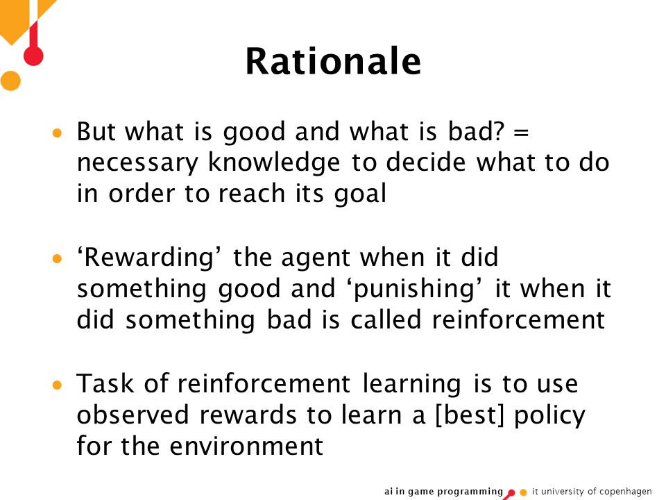 ai in game programming it university of copenhagen Rationale  But what is good and what is bad.