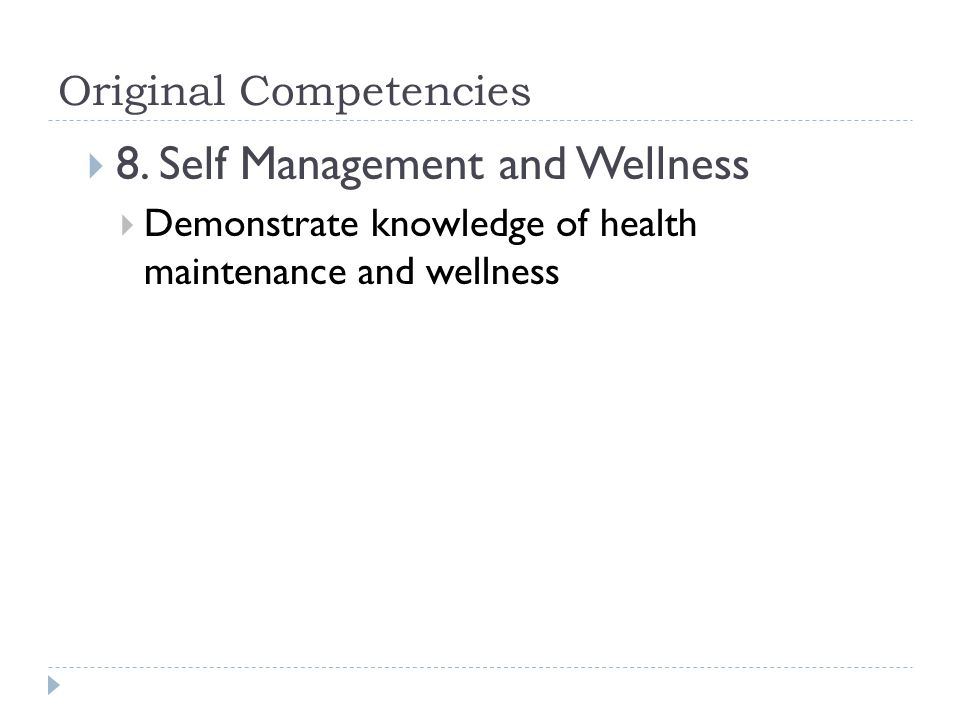 Original Competencies  8.