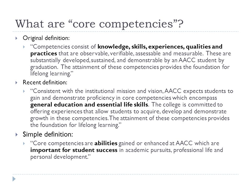What are core competencies .