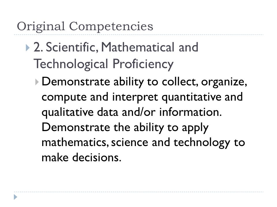 Original Competencies  2.