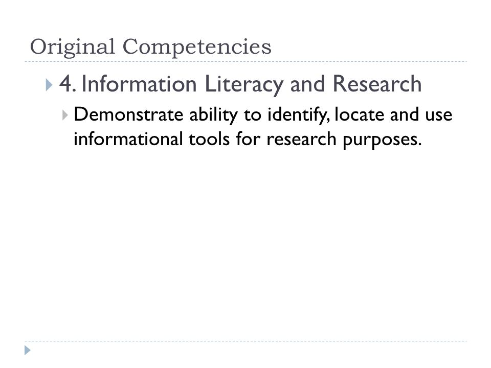Original Competencies  4.