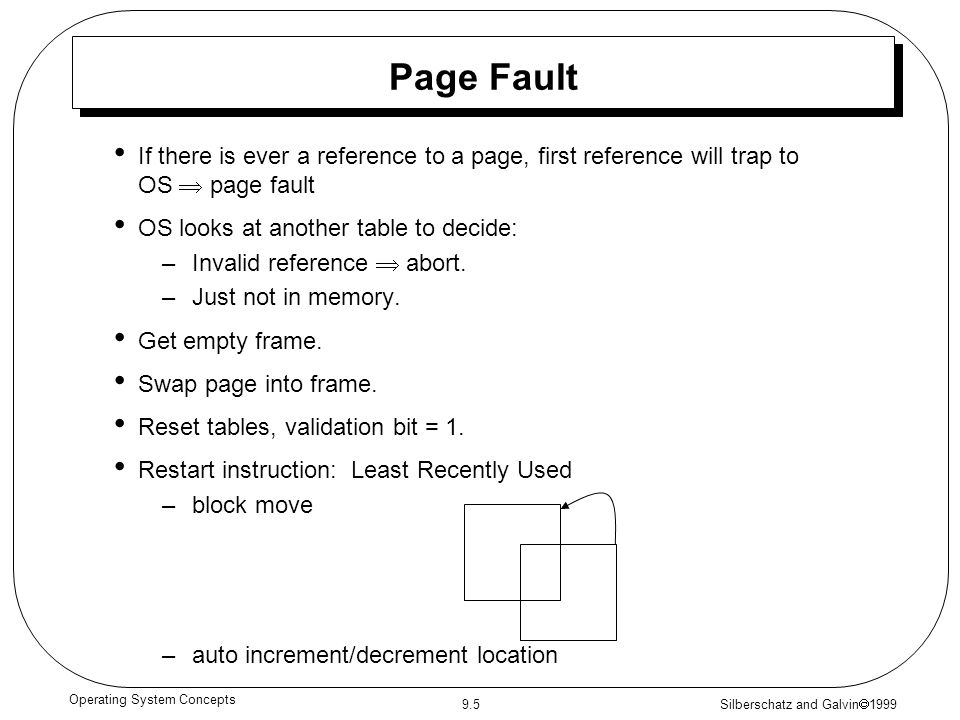 Silberschatz and Galvin  1999 9.5 Operating System Concepts Page Fault If there is ever a reference to a page, first reference will trap to OS  page
