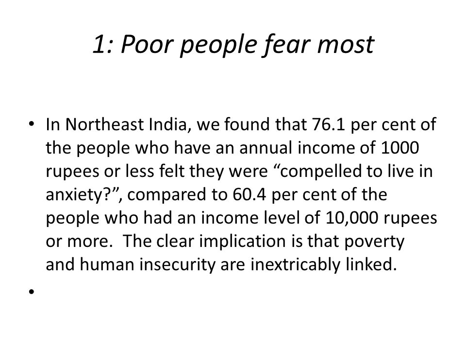 1: Poor people fear most In Northeast India, we found that 76.1 per cent of the people who have an annual income of 1000 rupees or less felt they were compelled to live in anxiety? , compared to 60.4 per cent of the people who had an income level of 10,000 rupees or more.