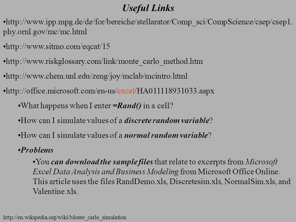 Useful Links http://en.wikipedia.org/wiki/Monte_carlo_simulation http://www.ipp.mpg.de/de/for/bereiche/stellarator/Comp_sci/CompScience/csep/csep1.