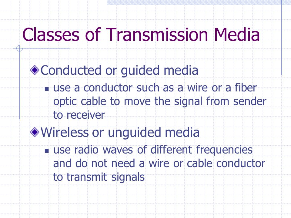 Classes of Transmission Media Conducted or guided media use a conductor such as a wire or a fiber optic cable to move the signal from sender to receiver Wireless or unguided media use radio waves of different frequencies and do not need a wire or cable conductor to transmit signals