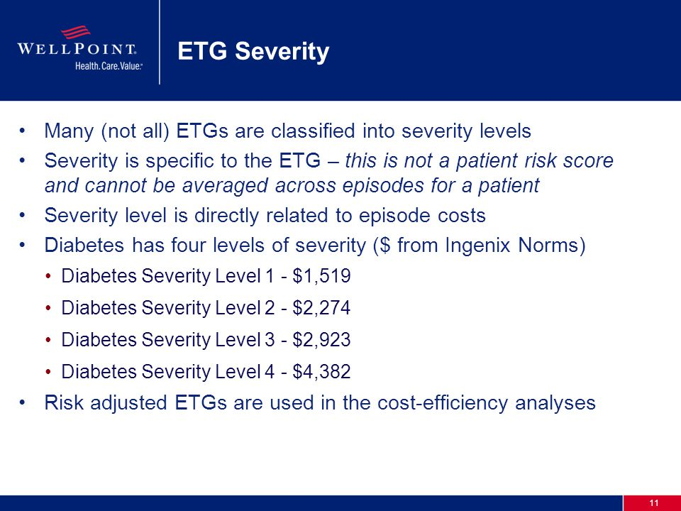 11 ETG Severity Many (not all) ETGs are classified into severity levels Severity is specific to the ETG – this is not a patient risk score and cannot