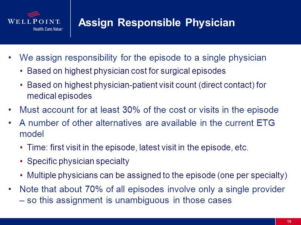 19 Assign Responsible Physician We assign responsibility for the episode to a single physician Based on highest physician cost for surgical episodes Based on highest physician-patient visit count (direct contact) for medical episodes Must account for at least 30% of the cost or visits in the episode A number of other alternatives are available in the current ETG model Time: first visit in the episode, latest visit in the episode, etc.