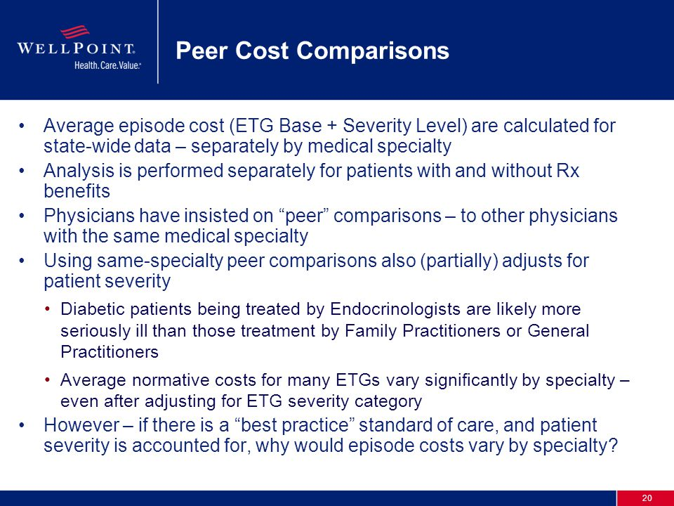 20 Peer Cost Comparisons Average episode cost (ETG Base + Severity Level) are calculated for state-wide data – separately by medical specialty Analysis is performed separately for patients with and without Rx benefits Physicians have insisted on peer comparisons – to other physicians with the same medical specialty Using same-specialty peer comparisons also (partially) adjusts for patient severity Diabetic patients being treated by Endocrinologists are likely more seriously ill than those treatment by Family Practitioners or General Practitioners Average normative costs for many ETGs vary significantly by specialty – even after adjusting for ETG severity category However – if there is a best practice standard of care, and patient severity is accounted for, why would episode costs vary by specialty