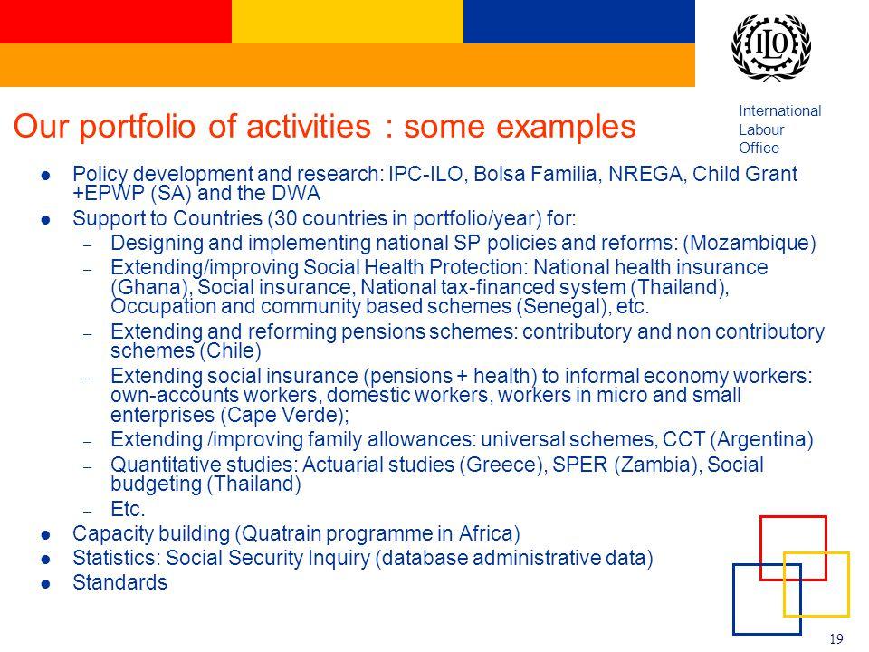 International Labour Office 19 Our portfolio of activities : some examples Policy development and research: IPC-ILO, Bolsa Familia, NREGA, Child Grant
