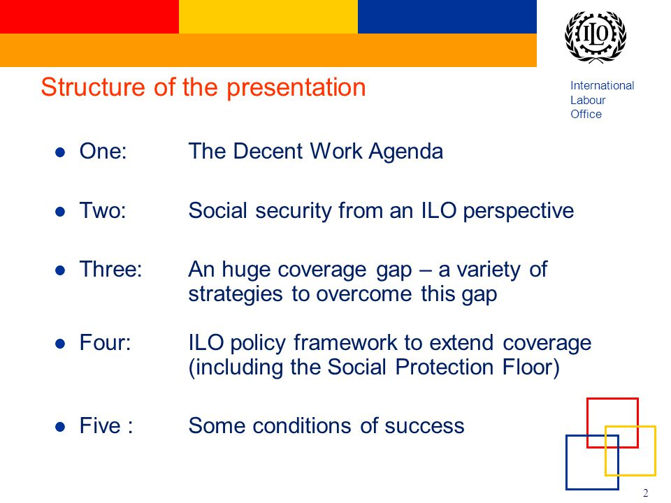 International Labour Office 2 Structure of the presentation One: The Decent Work Agenda Two: Social security from an ILO perspective Three:An huge cov