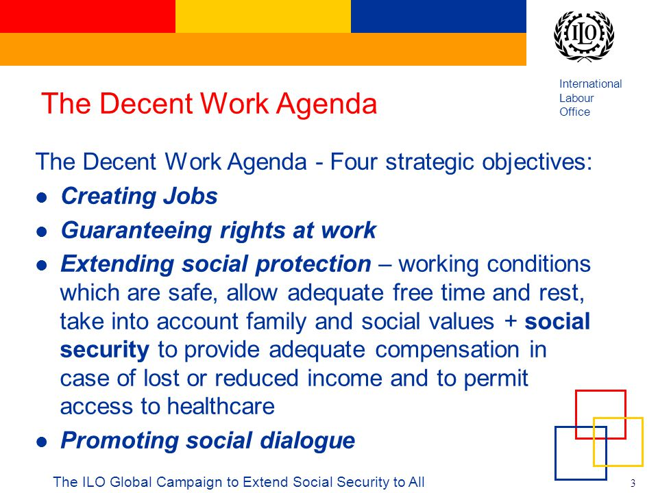 International Labour Office 3 The Decent Work Agenda The Decent Work Agenda - Four strategic objectives: Creating Jobs Guaranteeing rights at work Ext