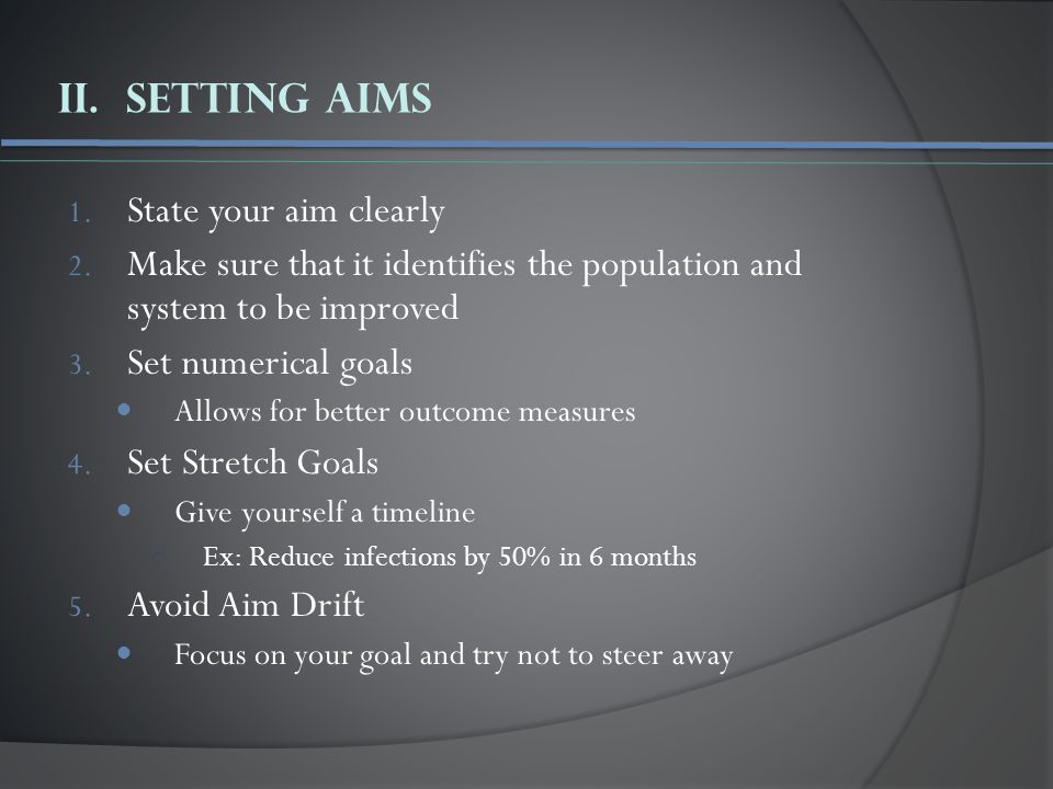 II. Setting Aims 1. State your aim clearly 2.