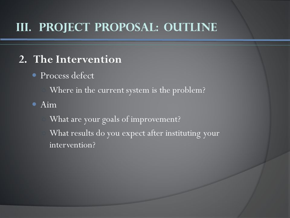 III.Project Proposal: Outline 2.