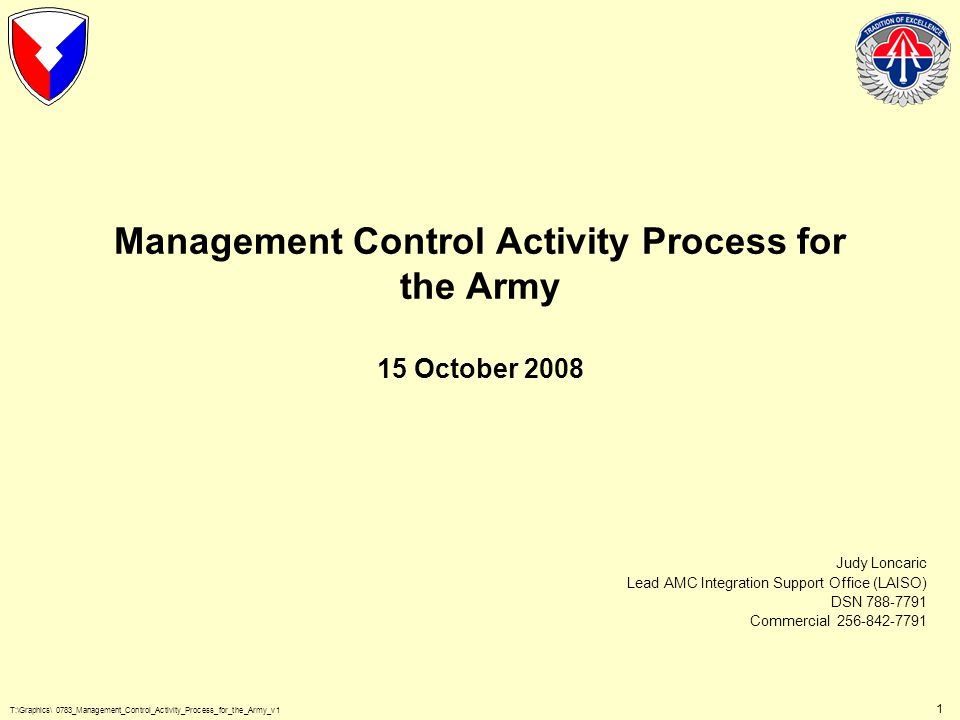 T:\Graphics\ 0783_Management_Control_Activity_Process_for_the_Army_v1 2 Purpose and Objectives of Management Control Activity Maintain record of contractor Government Furnished Materiel requirements Provide authorization checks on contractor requisitions for Government Furnished Materiel Track recovery of actual Government Furnished Material costs associated with commercial repair Help the Army Audit Agency to audit stocks of Government Furnished Material to verify contract compliance Ensure obligations of Non-AWCF funded contracts