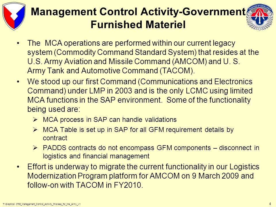 T:\Graphics\ 0783_Management_Control_Activity_Process_for_the_Army_v1 5 AE_/AS__ GFM/MCA CONTRACTOR REQUISITION PROCESSING ITEM ACCOUNTING A402 (Suspends AO_ and Validates to MCA/AX1) MCA UNFUNDED REJECTS SUSPENDED REJECTS A834 MARVS A835 STOCK-PRO A837 GMCA DATABASE MCA CONTRACTS W/GFM LISTINGS EXTERNAL SOS DAAS CONTRACTOR REQUISITIONS A685 I/A CLOSEOUT STORAGE DEPOTS (Funding Key Entries) EOR/JONO AMS-cd/MRRN (AWCF) DIC-YJE NSN Auth Qty Entries DIC-YKN Authorized (Yes) (Internal) DIC-YT_ RQN Passed Funding Criteria Creates Funding Obligations in SOMARDS or FAD File (AWCF) (Creates AX2) W/2M status Code Materiel Shipments To Contractors MROs (Thru DAAS) (File Updates) AX2 A5_ A3_ Passing Order AX2 W/2M or Other AE_ RQN Status AX1 AO_ HEART A403 A428 AUTODIN - IN FACSIMILE EMAIL HARDCOPIES MAIL CALL-INs DESEX Key Plus (Req Entries) AX1_ AX2_ A3_ AE_ (RQN status) / AS_ DAMES (Automated) AE_ /AS_(RQN status) AO_ (RQNs) AX1 AE_/AS_ RQN Status To MCA AX1 (EXT SOS) AX2 Not Auth AX2 (EXT SOS) AX1 AX2 DIC-YD_ (External) AUTODIN – OUT A5_ (MROs) AE_ RQNs AO_ AE_/AS_