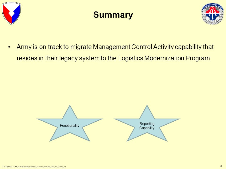 T:\Graphics\ 0783_Management_Control_Activity_Process_for_the_Army_v1 8 Summary Army is on track to migrate Management Control Activity capability that resides in their legacy system to the Logistics Modernization Program Functionality Reporting Capability