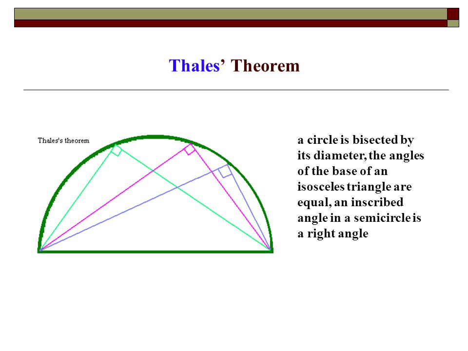 Thales' Theorem a circle is bisected by its diameter, the angles of the base of an isosceles triangle are equal, an inscribed angle in a semicircle is a right angle