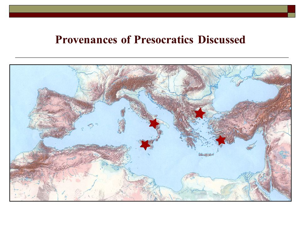 Provenances of Presocratics Discussed
