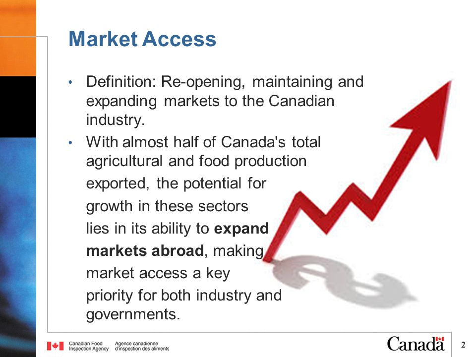 2 Definition: Re-opening, maintaining and expanding markets to the Canadian industry.
