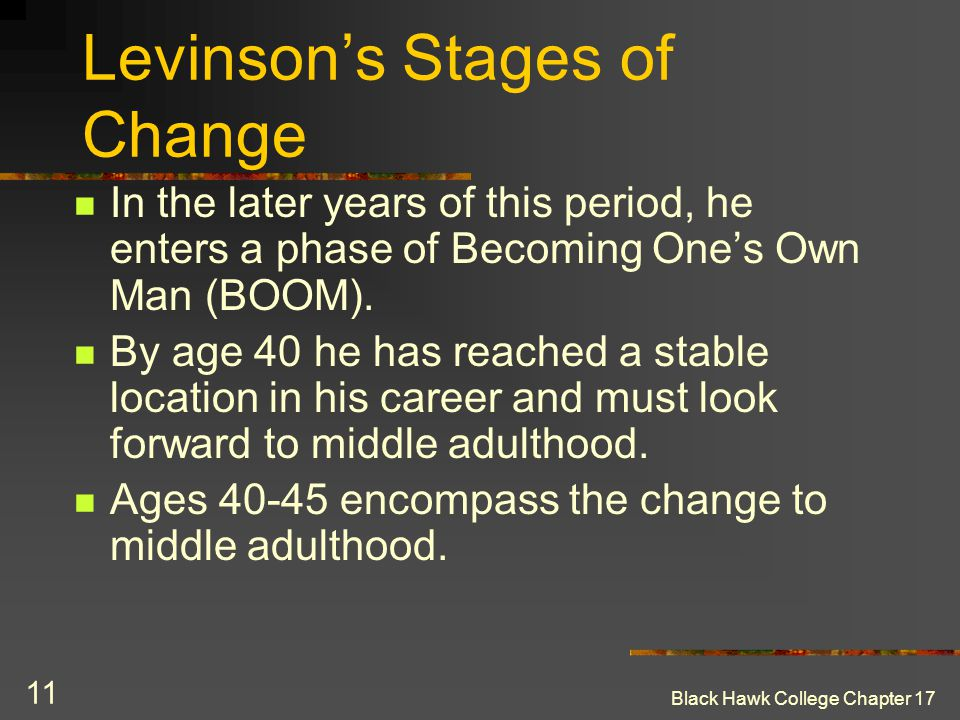 Black Hawk College Chapter 17 11 Levinson's Stages of Change In the later years of this period, he enters a phase of Becoming One's Own Man (BOOM). By