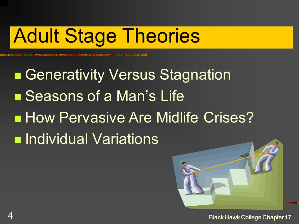 4 Adult Stage Theories Generativity Versus Stagnation Seasons of a Man's Life How Pervasive Are Midlife Crises? Individual Variations