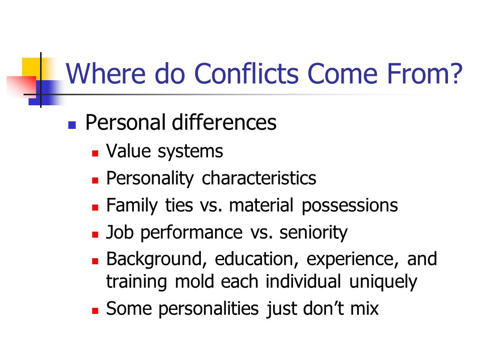 Where do Conflicts Come From.