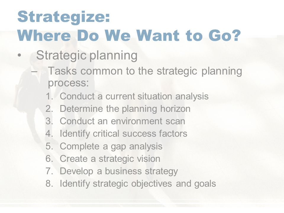 Strategize: Where Do We Want to Go.
