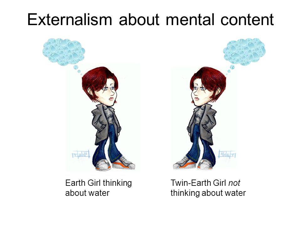 Externalism about mental content Earth Girl thinking about water Twin-Earth Girl not thinking about water