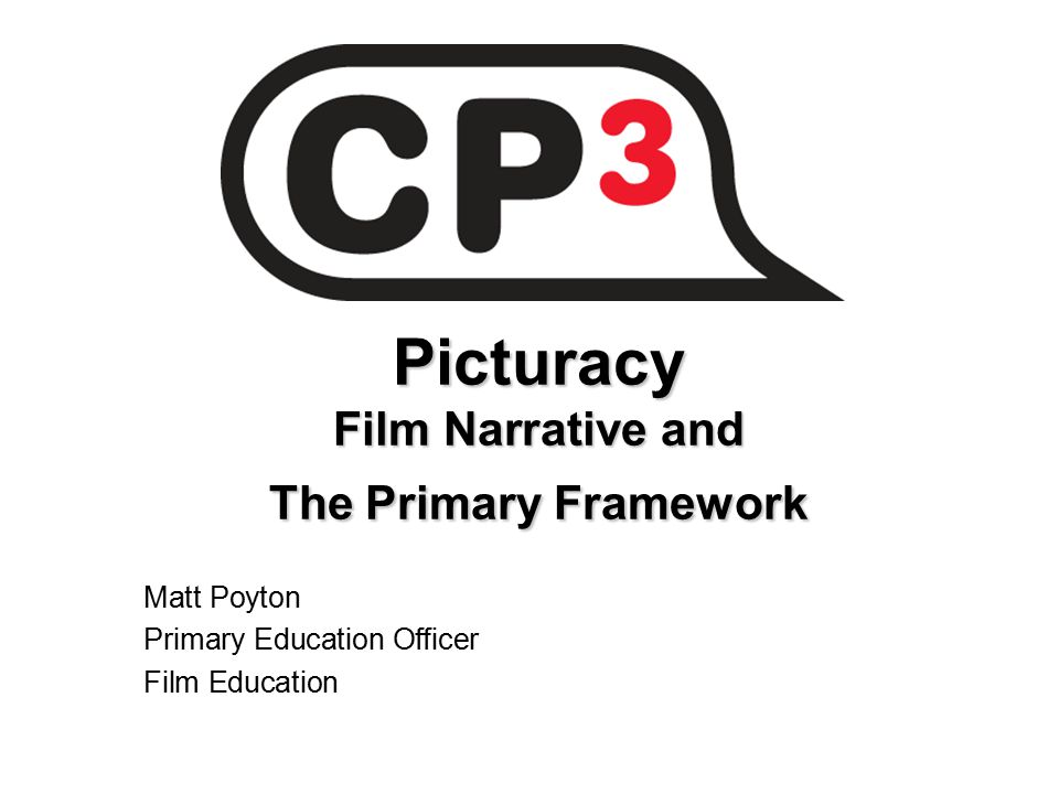 Picturacy Film Narrative and The Primary Framework Matt Poyton Primary Education Officer Film Education