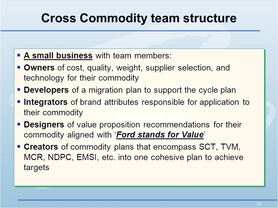 11 Cross Commodity team structure  A small business with team members:  Owners of cost, quality, weight, supplier selection, and technology for their commodity  Developers of a migration plan to support the cycle plan  Integrators of brand attributes responsible for application to their commodity  Designers of value proposition recommendations for their commodity aligned with 'Ford stands for Value'  Creators of commodity plans that encompass SCT, TVM, MCR, NDPC, EMSI, etc.