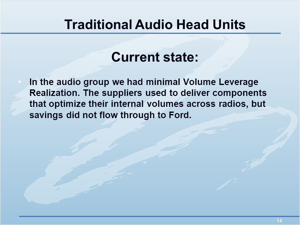 14 In the audio group we had minimal Volume Leverage Realization.