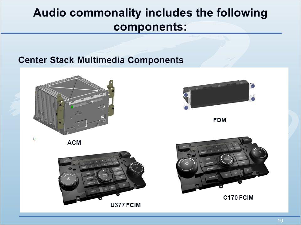 19 Audio commonality includes the following components: Center Stack Multimedia Components ACM FDM U377 FCIM C170 FCIM