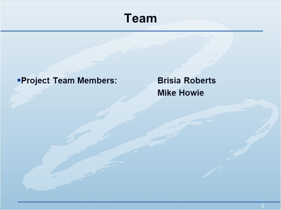 2 Team  Project Team Members:Brisia Roberts Mike Howie