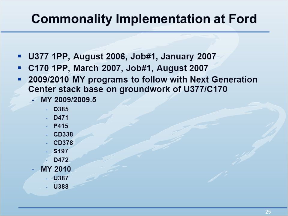 25 Commonality Implementation at Ford  U377 1PP, August 2006, Job#1, January 2007  C170 1PP, March 2007, Job#1, August 2007  2009/2010 MY programs to follow with Next Generation Center stack base on groundwork of U377/C170 -MY 2009/2009.5 D385 D471 P415 CD338 CD378 S197 D472 -MY 2010 U387 U388