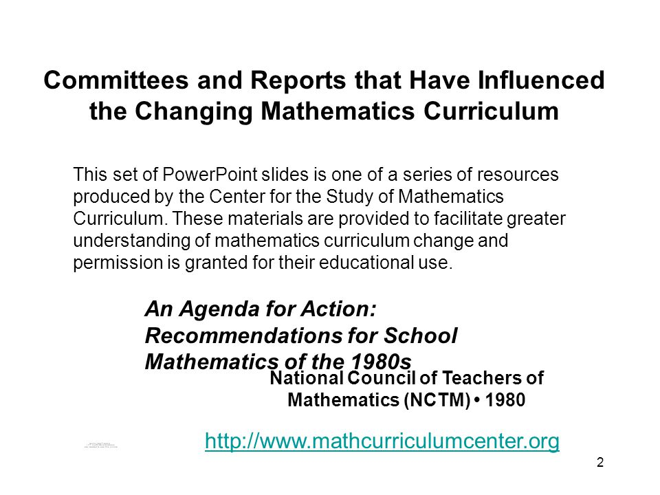 3 An Agenda for Action: Recommendations for School Mathematics of the 1980s National Council of Teachers of Mathematics 1980
