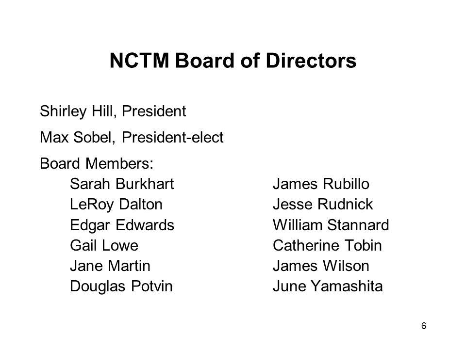 6 NCTM Board of Directors Shirley Hill, President Max Sobel, President-elect Board Members: Sarah BurkhartJames Rubillo LeRoy DaltonJesse Rudnick Edga