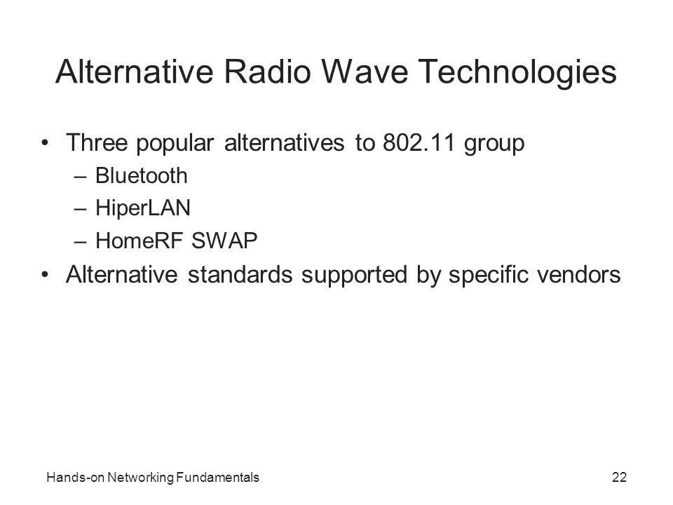 Hands-on Networking Fundamentals22 Alternative Radio Wave Technologies Three popular alternatives to 802.11 group –Bluetooth –HiperLAN –HomeRF SWAP Al