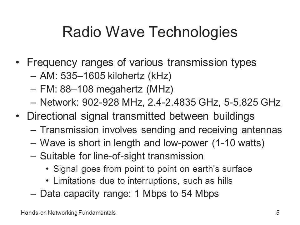 Hands-on Networking Fundamentals5 Radio Wave Technologies Frequency ranges of various transmission types –AM: 535–1605 kilohertz (kHz) –FM: 88–108 meg