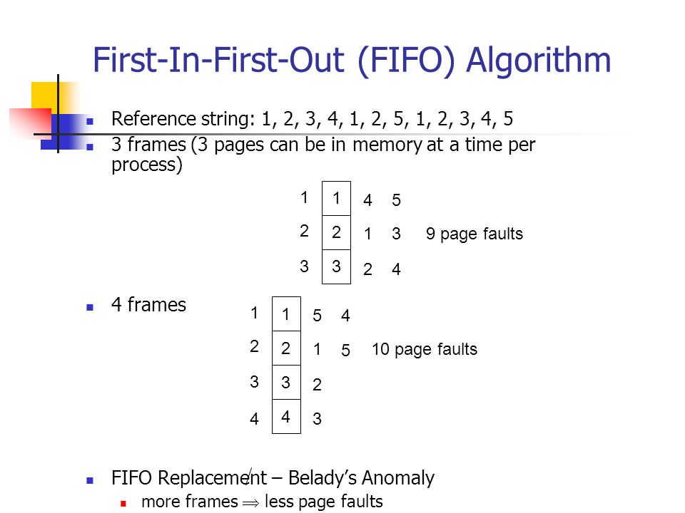 First-In-First-Out (FIFO) Algorithm Reference string: 1, 2, 3, 4, 1, 2, 5, 1, 2, 3, 4, 5 3 frames (3 pages can be in memory at a time per process) 4 frames FIFO Replacement – Belady's Anomaly more frames  less page faults 1 2 3 1 2 3 4 1 2 5 3 4 9 page faults 1 2 3 1 2 3 5 1 2 4 5 10 page faults 4 43