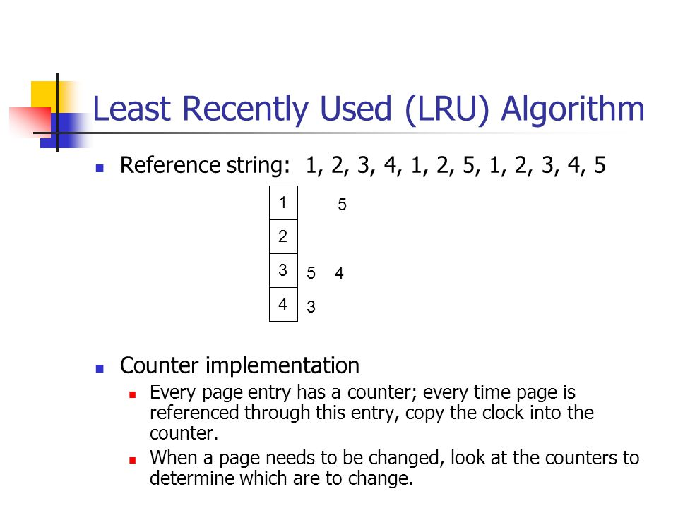 Least Recently Used (LRU) Algorithm Reference string: 1, 2, 3, 4, 1, 2, 5, 1, 2, 3, 4, 5 Counter implementation Every page entry has a counter; every time page is referenced through this entry, copy the clock into the counter.