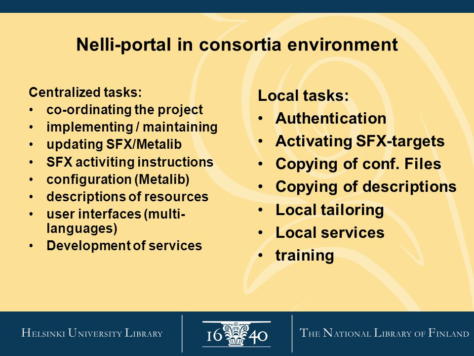Nelli-portal in consortia environment Centralized tasks: co-ordinating the project implementing / maintaining updating SFX/Metalib SFX activiting instructions configuration (Metalib) descriptions of resources user interfaces (multi- languages) Development of services Local tasks: Authentication Activating SFX-targets Copying of conf.